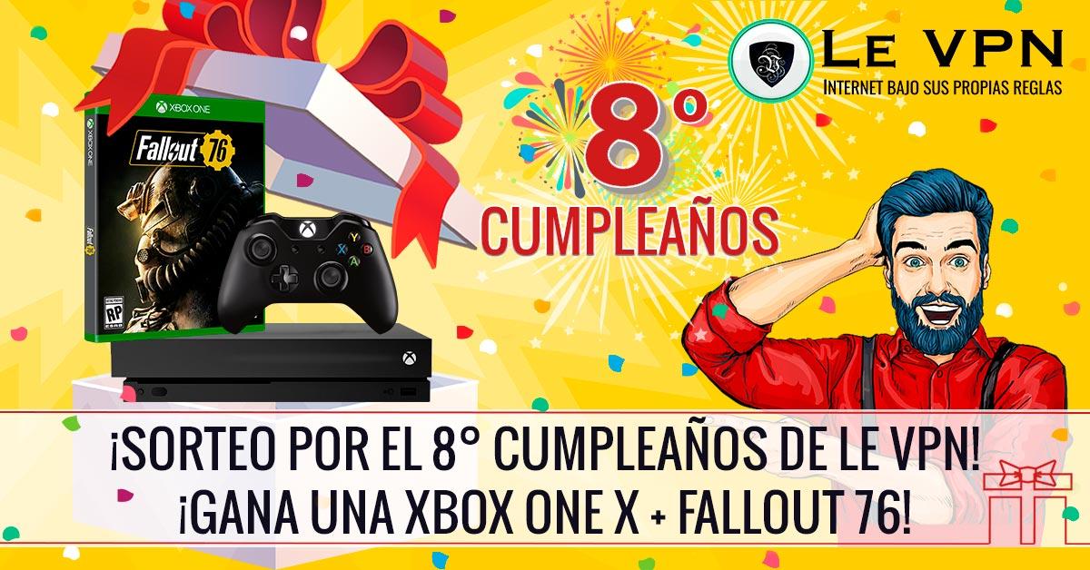 ¡Gana una Xbox One X + Fallout 76 por nuestro 8º cumpleaños!   ¡Gana una Xbox One X con Fallout 76 en nuestro Sorteo de Cumpleaños! ¡Ya empezó el Sorteo de Cumpleaños de Le VPN! Un ganador afortunado recibirá una Xbox One X + Fallout 76! TODOS LOS DEMÁS reciben 1 mes gratis de Le VPN acreditado en su plan!   Le VPN