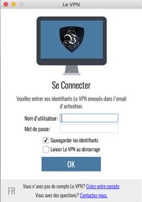 l'écran de connexion Le VPN
