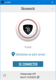 l'écran principal de l'application Le VPN
