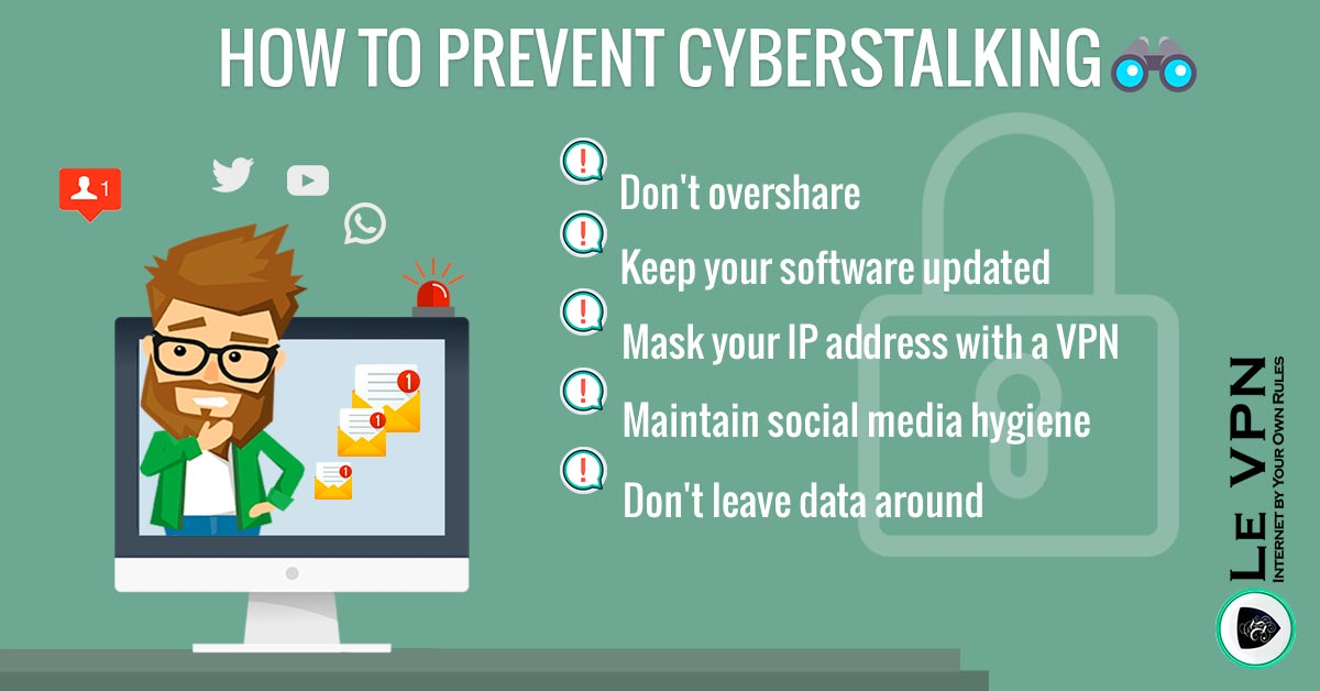 How to prevent cyberstalking   Cyberstalking: How to prevent it? What to do when being stalked?   cyber stalking   Le VPN